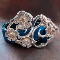 fourwildroses_sterlingsilver_beltbuckle